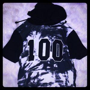 Men's tie dye style 100 hoodie tee shirt